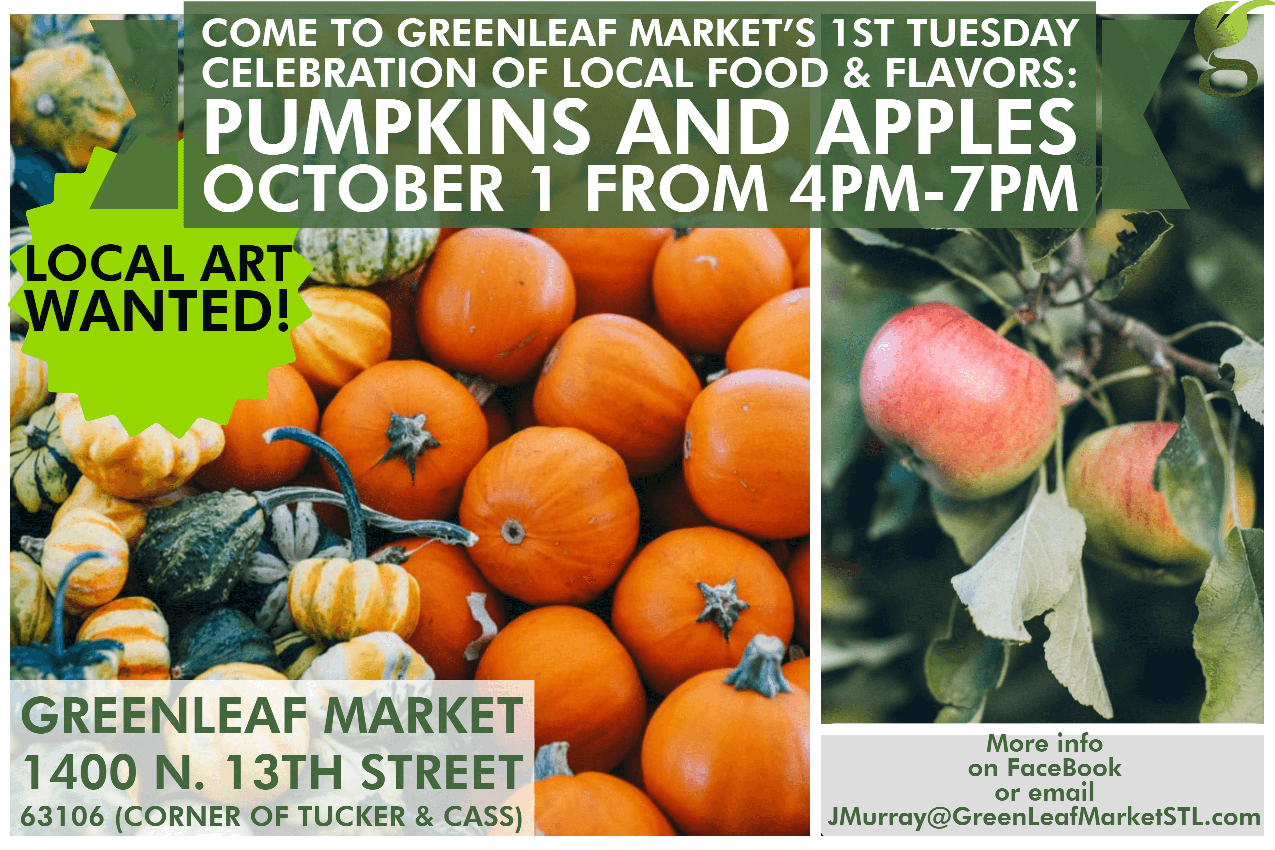 Tuesday October 1, 4PM-7PM: First Tuesday Celebration of Local Food