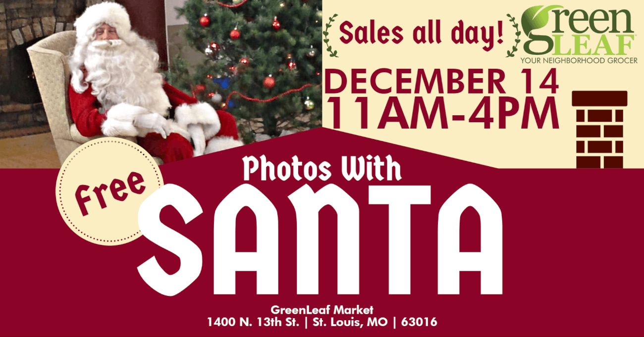 Free pictures with Santa at GreenLeaf Market Northside grocer